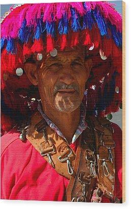 Water Seller Marrakesh Morocco Wood Print by Ralph A  Ledergerber-Photography