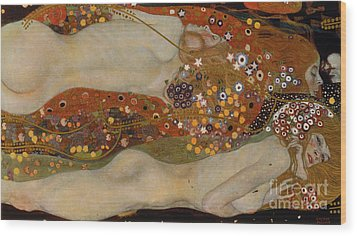 Water Serpents II Wood Print by Gustav Klimt