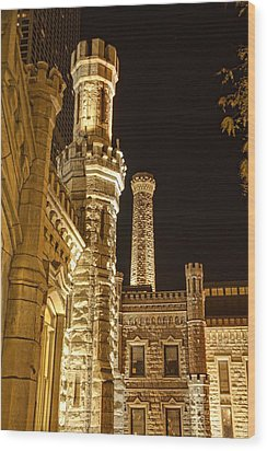 Water Tower At Night Wood Print by Daniel Sheldon
