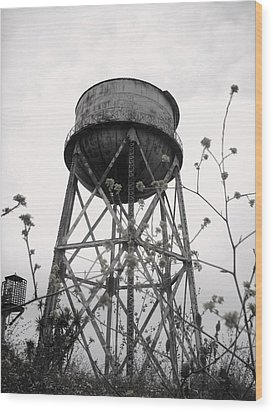 Water Tower Wood Print by Michael Grubb