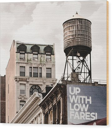 Water Towers 14 - New York City Wood Print by Gary Heller