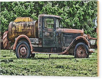 Water Truck Wood Print by Ron Roberts