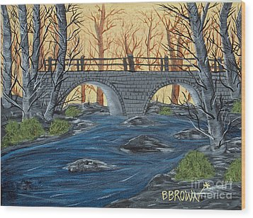 Wood Print featuring the painting Water Under The Bridge by Brenda Brown
