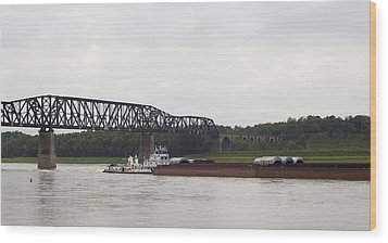 Wood Print featuring the photograph Water Under The Bridge - Towboat On The Mississippi by Jane Eleanor Nicholas