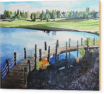 Wood Print featuring the painting Water Valley Golf by Tom Riggs