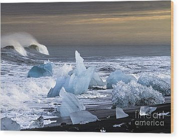 Wood Print featuring the photograph Water Versus Ice by Gunnar Orn Arnason