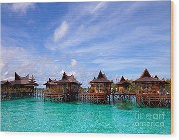Water Village On Mabul Island Sipadan Borneo Malaysia Wood Print by Fototrav Print