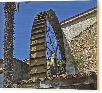 Wood Print featuring the photograph Water Wheel At Moulin A Huile Michel by Allen Sheffield