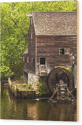 Wood Print featuring the photograph Water Wheel At Philipsburg Manor Mill House by Jerry Cowart