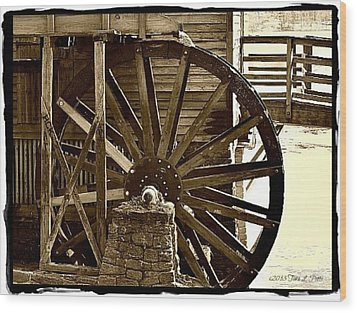 Wood Print featuring the photograph Water Wheel At The Grist Mill by Tara Potts