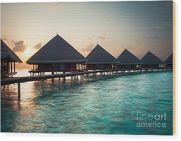 Waterbungalows At Sunset Wood Print by Hannes Cmarits