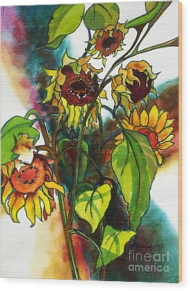 Wood Print featuring the painting Sunflowers On The Rise by Kathy Braud