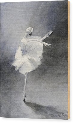 Watercolor Ballerina Painting Wood Print