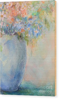 Watercolor Bouquet Wood Print by Pattie Calfy