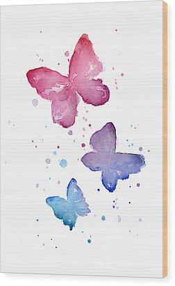 Watercolor Butterflies Wood Print by Olga Shvartsur