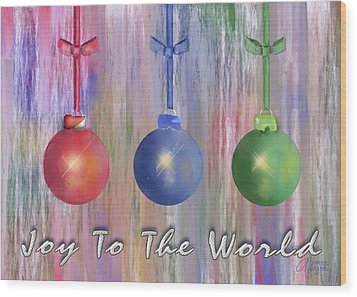 Wood Print featuring the digital art Watercolor Christmas Bulbs by Arline Wagner