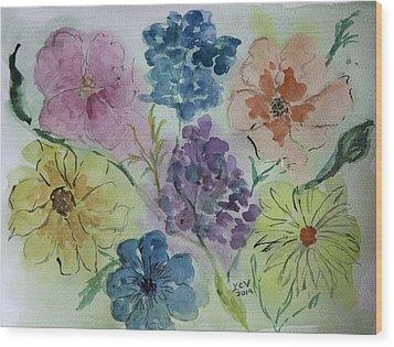 Pastel Flowers Wood Print