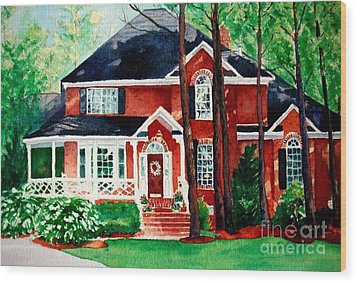 Watercolor Home Portrait 1 Wood Print