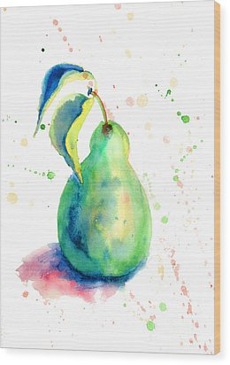 Watercolor Illustration Of Pear  Wood Print
