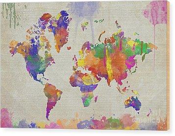 Watercolor Impression World Map Wood Print by Zaira Dzhaubaeva