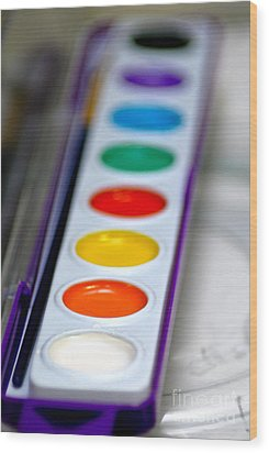 Watercolor Paint Set Wood Print by Amy Cicconi