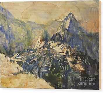 Watercolor Painting Machu Picchu Peru Wood Print by Ryan Fox