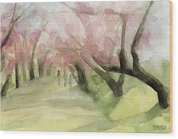 Watercolor Painting Of Cherry Blossom Trees In Central Park Nyc Wood Print