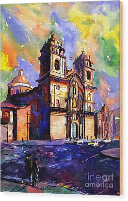 Watercolor Painting Of Church On The Plaza De Armas Cusco Peru Wood Print