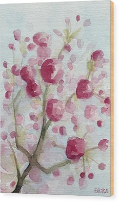 Watercolor Painting Of Pink Cherry Blossoms Wood Print by Beverly Brown Prints