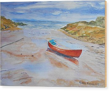 Watercolor Painting Of Red Boat Wood Print by Geeta Biswas