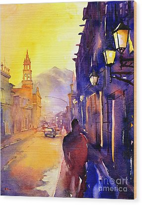 Watercolor Painting Of Street And Church Morelia Mexico Wood Print