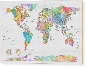 Watercolor Political Map Of The World Wood Print
