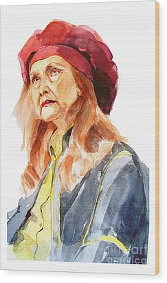 Watercolor Portrait Of An Old Lady Wood Print