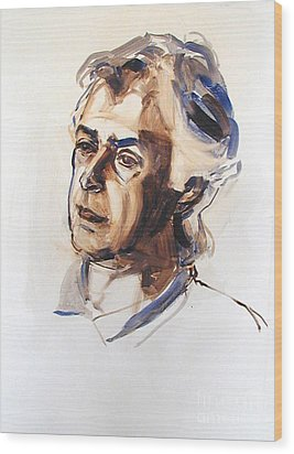 Wood Print featuring the painting Watercolor Portrait Sketch Of A Man In Monochrome by Greta Corens