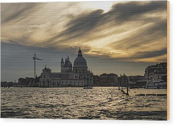 Wood Print featuring the photograph Watercolor Sky Over Venice Italy by Georgia Mizuleva