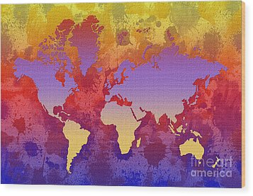 Watercolor Splashes World Map On Canvas Wood Print by Zaira Dzhaubaeva