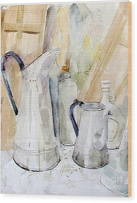 Watercolor Still Life Of White Cans Wood Print