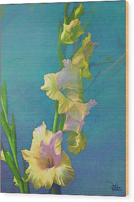 Watercolor Study Of My Garden Gladiolas Wood Print
