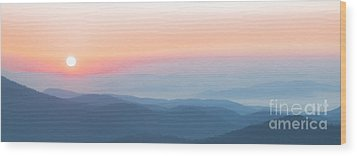 Watercolor Sunrise In The Blue Ridge Mountains Wood Print