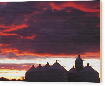 Watercolor Sunset II  Wood Print by Sarah Boyd