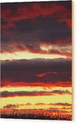 Watercolor Sunset Wood Print by Sarah Boyd