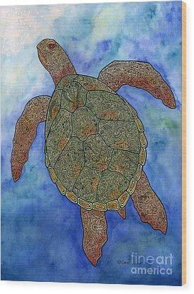 Watercolor Tribal Turtle  Wood Print by Carol Lynne