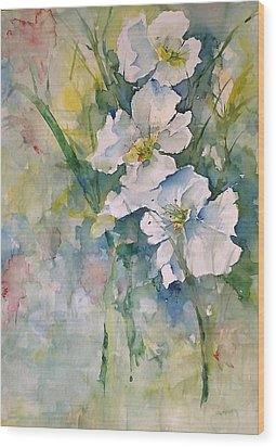 Watercolor Wild Flowers Wood Print by Robin Miller-Bookhout