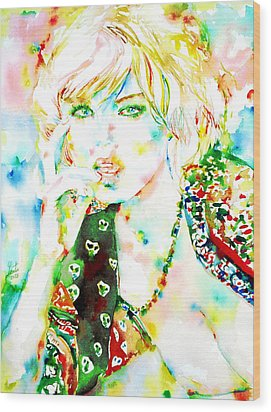 Watercolor Woman.3 Wood Print by Fabrizio Cassetta