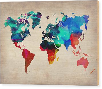 Watercolor World Map 3 Wood Print by Naxart Studio
