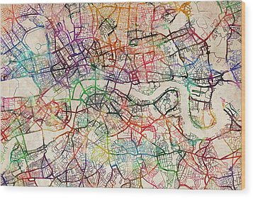 Watercolour Map Of London Wood Print by Michael Tompsett