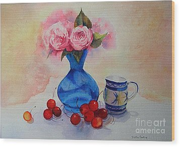 Wood Print featuring the painting Watercolour Roses And Cherries by Beatrice Cloake