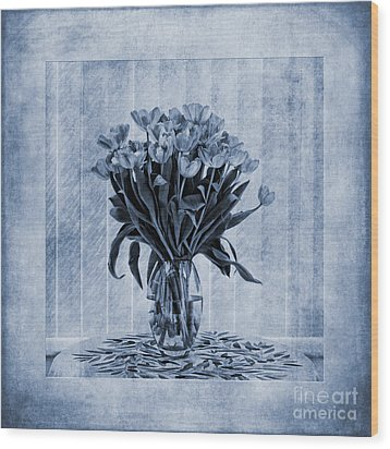 Watercolour Tulips In Blue Wood Print by John Edwards