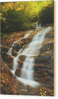 Waterfall @ Sams Branch Wood Print by Photography  By Sai
