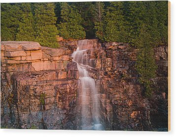 Waterfall Wood Print by Allan Johnson